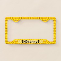 Modern Bold Yellow and Red Suns Abstract License Plate Frame