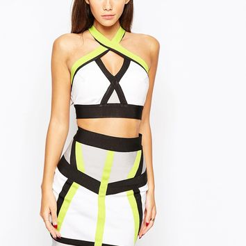 WOW Couture Bandage Neon 2 in 1 Crop Top And Skirt Set
