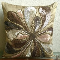 Decorative Throw Pillow Covers Accent Pillow Couch Pillow 16 Inch Silk Pillow Cover Embroidered Sequins Exotica Home Decor Living Housewares