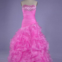 A-line Sweetheart Sleeveless Floor-length Satin Organza Prom Dress With Ruffles Rhinestone Free Shipping
