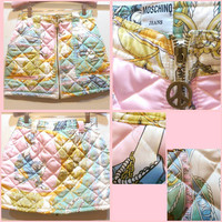 Rare 90s Quilted Cartoon Pastel Miniskirt (Moschino Jeans)