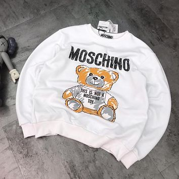 MOSCHINO Trending Women Loose Cute Bear Print Round Collar Sweater Sweatshirt Top White