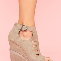 Garcelle Cutout Wedge - Gray in  Shoes at Nasty Gal