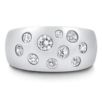 Sterling Silver 925 Bubble Cubic Zirconia Dome Fashion Right Hand Ring #r278