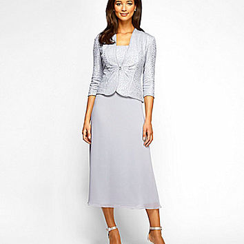 Alex Evenings Tea-Length Mock 2-Piece Jacket Dress - Silver