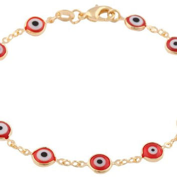 Gold Overlay with Red Mini Evil Eye Style 7.5 Inch Clasp Bracelet