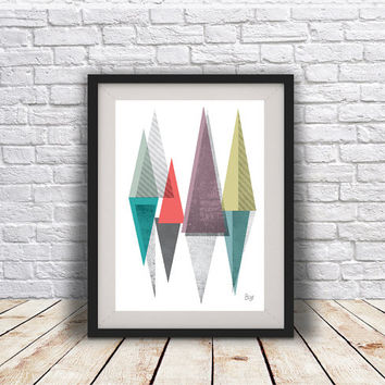 PRINT of Abstract art Triangles Geometric art Retro poster Minimal Modern Scandinavian Nordic Style Abstract Digital poster print.