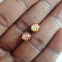 Fire Opal Earrings - Opal Earring - Harlequine Opal Post - Harlequine Opal studs - Harlequine Opal Earrings