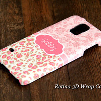 Pink Leapord Floral Custom Monogram 3D-Wrap Samsung Galaxy S5 Case Galaxy S4 Case Galaxy S3 Case Galaxy Note 3 and Note 2 Case