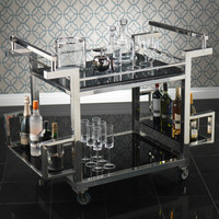 Polished Steel and Glass Trolley