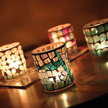 Tea Light Candle Holder Glass Mosaic Candle Holder Wedding New Year Gift Home Bar Decor