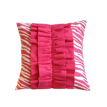 "Pink Zebra 18"" x 18"" Ruffle Pillow Cover"