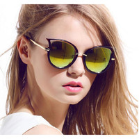 Mirror Round Pointy Cat Eye Sunglasses Circle Vintage Glasses - Sophie
