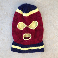 Vintage 80s Winter, Ski Mask, Burgundy, Yellow, Navy Blue - Adult Size