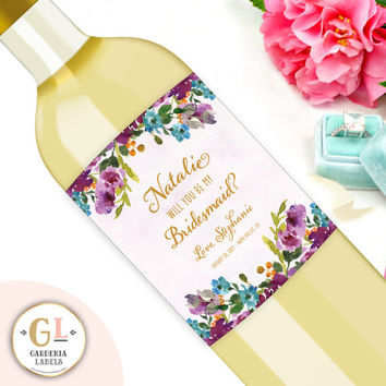 Will You Be my Bridesmaid Wine Label, Be my Maid of Honor Ask, Customized Wedding Thank You, Bridesmaid Proposal Label, Bridesmaid Box Item