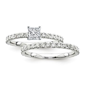 Certified 1.45 Ct. Princess Diamond Bridal Engagement Ring Set with Side Stones in 14K White Gold