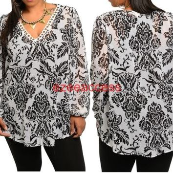 SeXy Women Plus Size Hi Low Long Sleeves Sheer Tunic Top Blouse Damask Paisleys