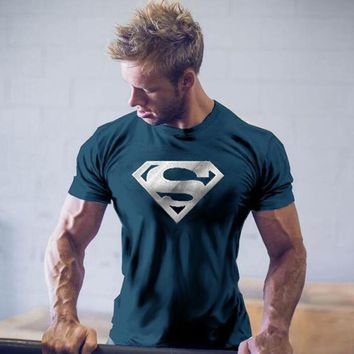 Workout Clothes Cotton Superman Gyms T Shirts Plus size M-2XL Mens T-shirt Muscle Gyms Fitness Clothing Bodybuilding Tops