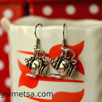 Teapot Earrings - Antique Silver Teapot Charm Earrings - Nickel Free
