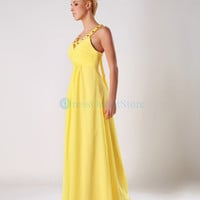 Halter Chiffon Ruched Beading Yellow Evening Dress : dressoutletstore.co.uk, Wedding Dresses Outlet
