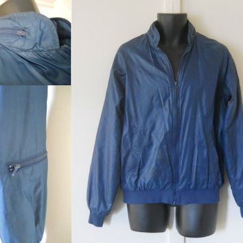 Mens Windbreaker with Secret Compartments Blue Windbreaker 80s Windbreaker 80s Jacket Mens Jacket Mens Raincoat Rain Jacket Blue Jacket
