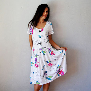vintage ABSTRACT floral dress  / 1980s scoop by vintagemarmalade