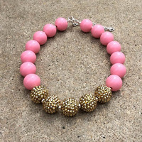Pink and Gold Girls Necklace, Toddler Necklace, Girls Jewelry, Chunky Bubblegum Beads, Gold 1st Birthday, Pink and Gold 1st Birthday,Gumball