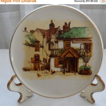 DISCOUNTED Vintage Lancaster N Sandland Ware Small Round Plate/Transferware from England/Made at Dresden Works - Hanley England Factory - 19