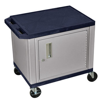 H. Wilson 2-Shelf Multipurpose Topaz Nickel Presentation Utility Cart With Lockable Storage Cabinet