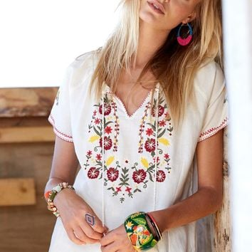 Floral Embroidery Mexican Blouse