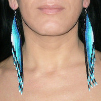 Long Earrings -  Teal, Aqua, Mint, Blue, White, Black. Very Long Shoulder Dusters.