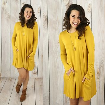 Oh Happy Day Dress in Mustard