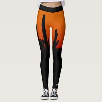 Saguaro Sunset Orange and Black, Personalized Name Leggings