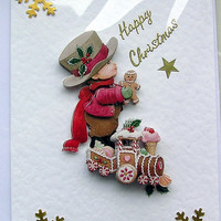 Christmas Card - Happy Christmas Hand-Crafted 3D Decoupage Card - Happy Christmas (1619)