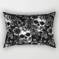Skull Flora Rectangular Pillow by allisone