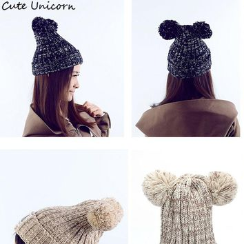 Two Ball cute hats caps 2017 Winter Beanie Women Men Fashion Solid Knitted Hats hats Good Quality Hats For Autumn Winter Beanies
