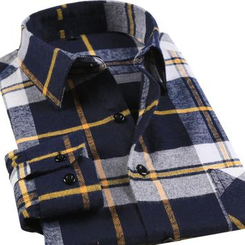 New Flannel Plaid Men Shirts Long Sleeve Brushed Cotton Shirt Slim Soft Shirt Leisure Styles Man Clothes Blue & White & Yellow