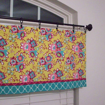 Custom Boutique Pink and Teal Floral Print Valance - Lined Curtain - for Kitchen, Bathroom, Laundry, Bedroom - Window Treatments