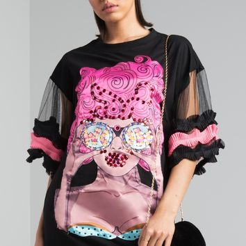 AKIRA Frill Sleeve Round Neck Oversized Printed Sequin Face T Shirt Dress in Black