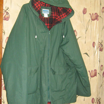 vtg XL green  Rainskins pvc vinyl raincoat slicker hood rain jacket flannel lined