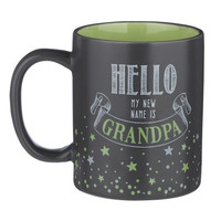 """Hello My NEW Name Is Grandpa"" - Black and Green Ceramic Coffee Mug with Gift Box"