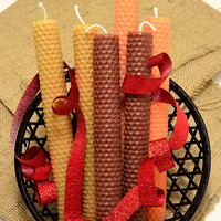 6 Fall Candles Autumn Beeswax Candle Tapers Brown Orange Tan