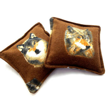 Gray Wolf Flannel Hand Warmers - Brown Reusable Rice Hand Warmers