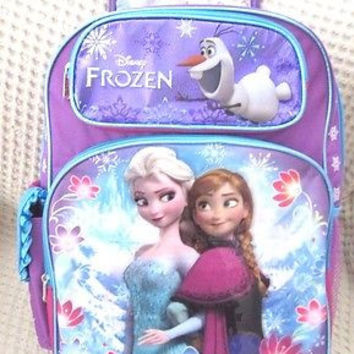 "Disney Frozen Anna,Elsa, and Olaf Sisters Stick Together 16"" Rolling Backpack"