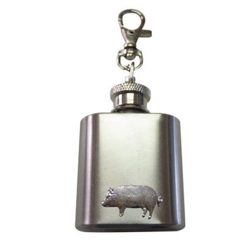 Pig Pendant 1 oz. Stainless Steel Key Chain Flask