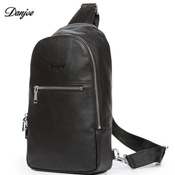 Men Chest Pack Genuine Leather Business Male Cross Body Bag Leather Male Phone Pocket Bag Messenger Bag