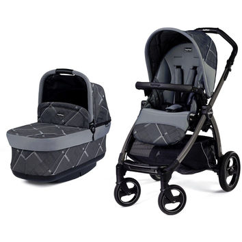 Peg Perego Book Pop Up Pram System Baby Stroller w/ Bassinet Portraits Grey NEW