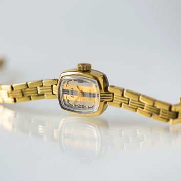 Tiny women's watch Dawn, gold plated lady's watch, cocktail watch striped face, bracelet wristwatch rectangular small