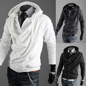 Men's Solid Slim Hooded Autumn Coat = 1783150404
