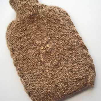Hot Water Bottle, Alpaca Hot Water Bottle Cover Cozy, 'Hoot' Water Bottle Cover  including HWB, Handspun Handknit Brown Alpaca HWB Cover